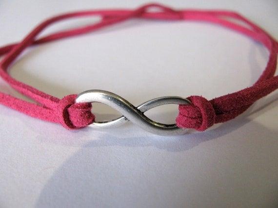 Pink Suede Infinity Charm Bracelet