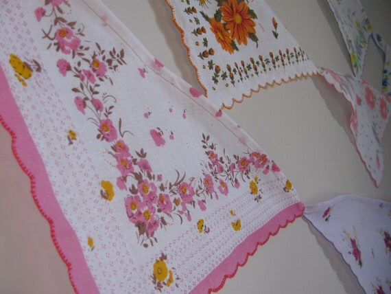 Vintage Floral Handkerchief Bunting / Garland