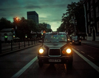 Headlights at Dusk ,London,England-Fine Art Photo-Multiple Sizes Available,Travel,London,Taxi, Cab,Dusk,Night