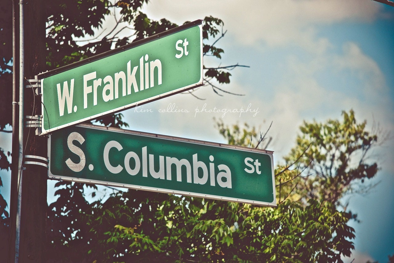 Franklin Street Sign UNC-Chapel Hill North Carolina Multiple Y Intersection Sign