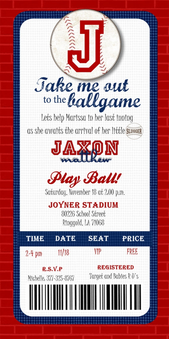 Custom printable baseball ticket invitation by joyinvitations for Sports ticket template free download