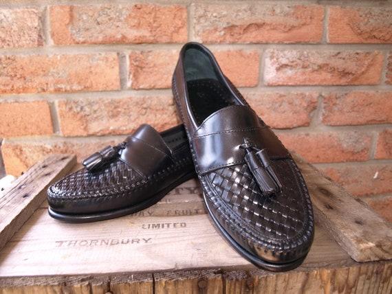 NOS (unworn) Bass Black leather loafer tassle, size 8.5 Med vintage 80s preppy,trad