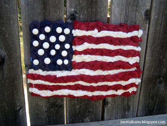 American Flag Miniature Rag Rug Wall Hanging