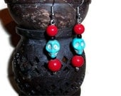 Turquoise Skull Dangles, Red & Turquoise Earrings, Day of the Dead Jewelry, Halloween Jewelry, Christmas gifts, stocking stuffers