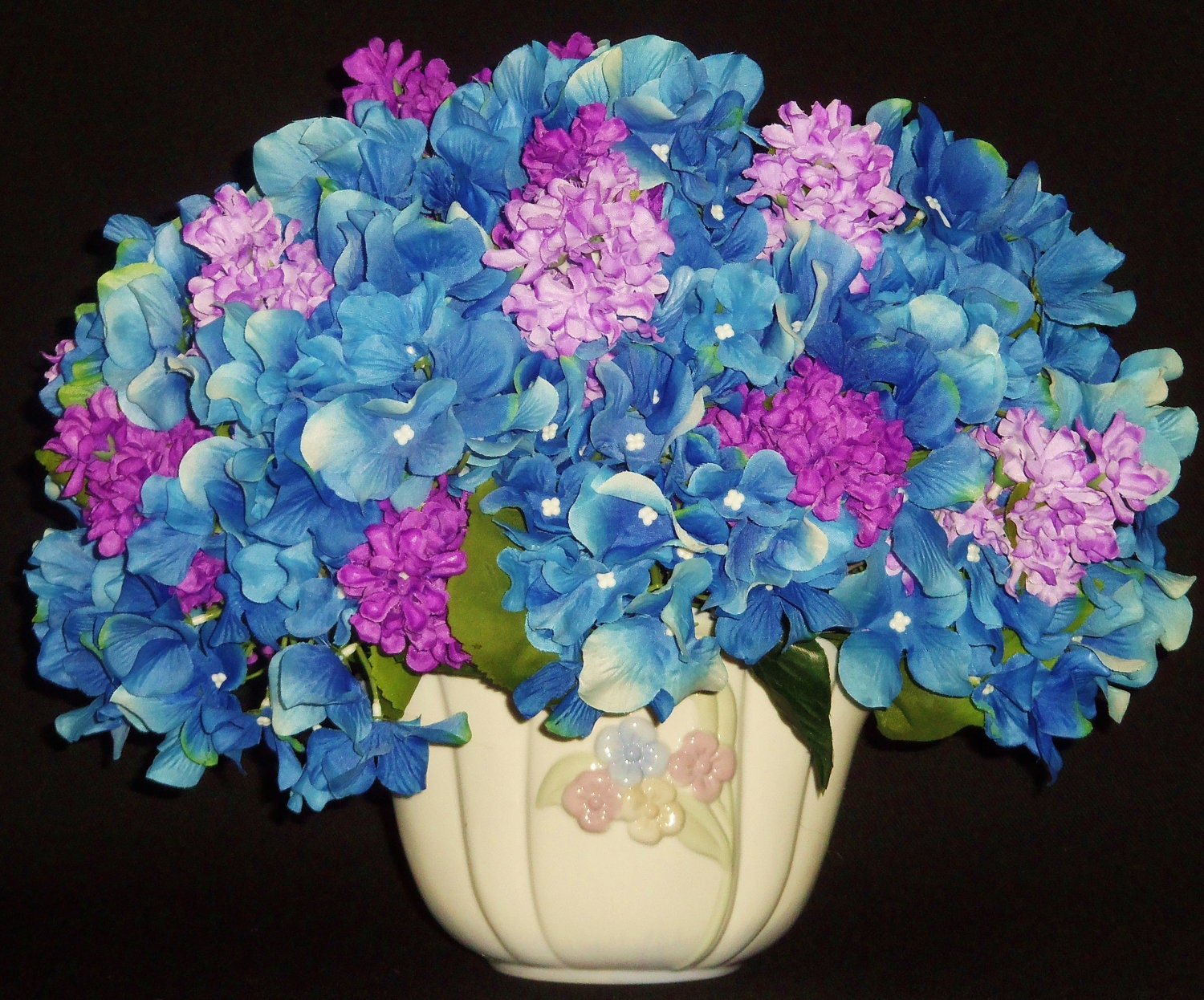 Silk flower arrangement blue hydrangea lavender lilacs