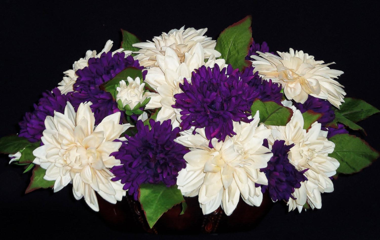 Silk Flower Arrangement Cream Dahlia amp Purple Mums