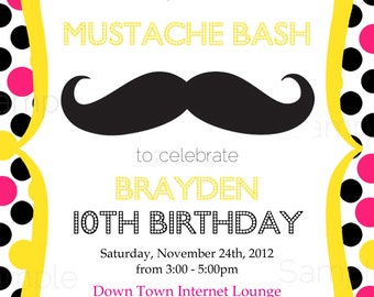 Mustache Sleepover Birthday Bash Printable Party Invitation ONLY