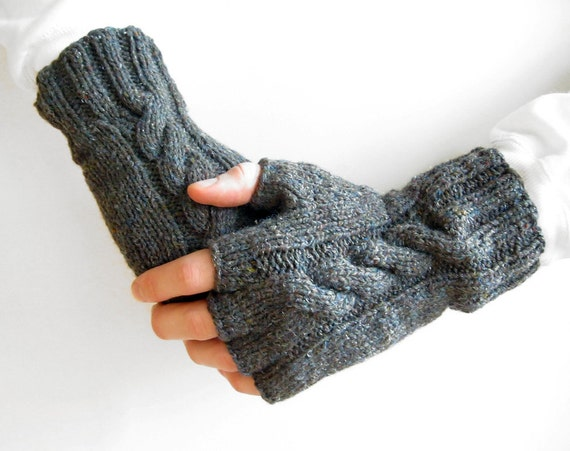 Mens Fingerless Gloves / Grey Knitted Mittens / Gift for Him / Wrist Warmers