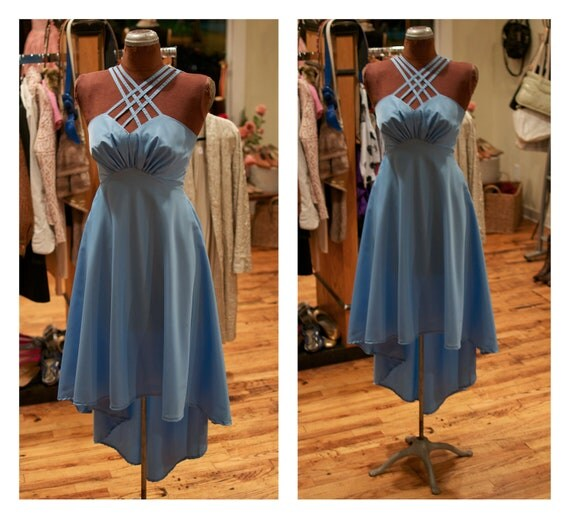 1970s High Low Cross Halter Neck Party Dress Dance Dress with Gathered Bust and Full Skirt
