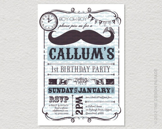 PRINTABLE Tash / Moustache Party Invitation. Retro, vintage inspired.