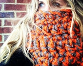 Thanksgiving cowl, Brown and orange EXTRA CHUNKY cowl , thick neck warmer, chunky scarf, Thanksgiving fashion, extra large cowl, thankful go