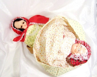 Vintage Topsy Turvy Doll: Red Riding Hood & Grandma, Fairy Tale Doll - S1016