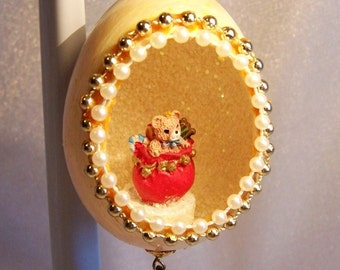Vintage Christmas Ornament: Bear in Sack of Toys in an Egg - S1029