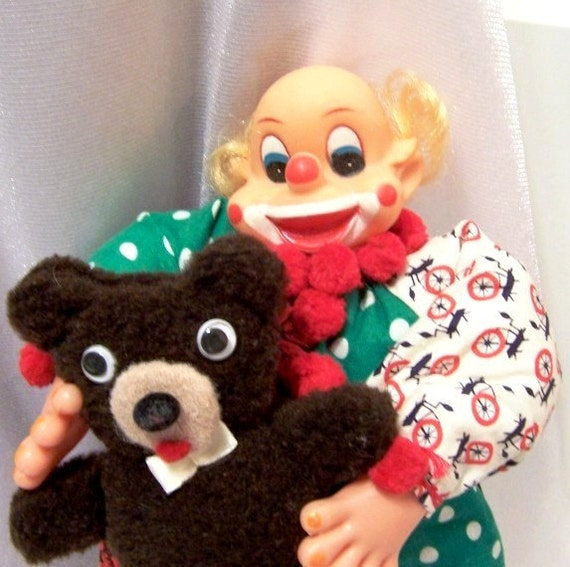 Vintage Clown and his Teddy Bear, Dolls Made by Grandma - S1003