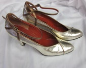 Vintage 70s YSL Yves Saint Laurent High Heeled Pumps 8.5 N Made in Italy silvery gold and bronze all leather Designer Shoes