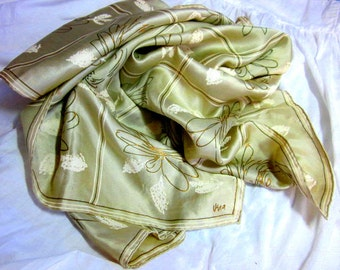 gorgeous 60s VERA SILK SCARF pale celery green gold metallic roses 32 in square Vera Neumann