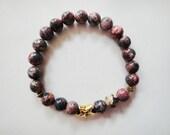 Healing crystal energy bracelet, women's jewelry, Leopard Jasper, star, Buddhist, yoga, Zen, new age, metaphysical