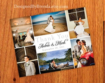 Wedding Thank You Postcards with image on back - Simple, Modern & Chic - Free Shipping Worldwide - Multiple Pictures in Geometric Pattern