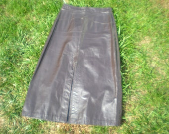vintage leather a line skirt in brown