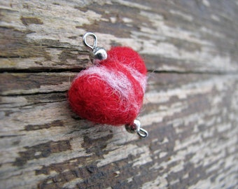 Felted Jewerly, tiny red heart, pendant
