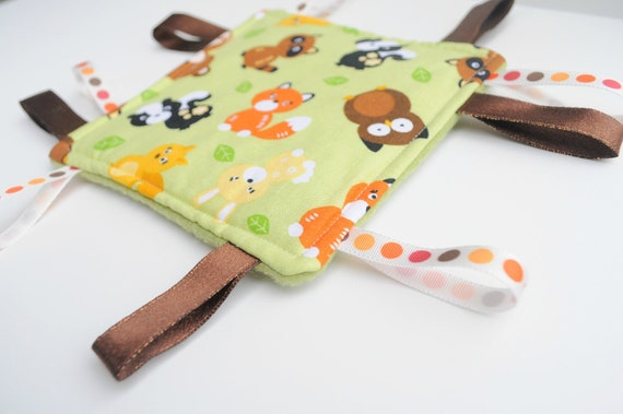 Ribbon Toy - Baby Lovey Taggie - Taggies for Baby - Forest Animals - Green, Orange, Brown, Yellow, Black
