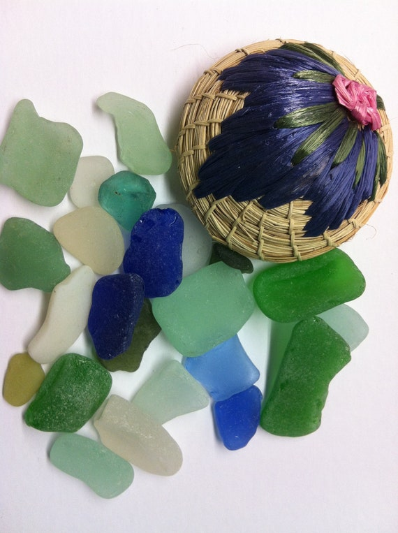 Beach Found Sea Glass in Blue Green White (234)