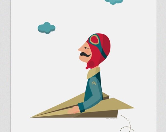 """Ilustración """" El aviador """"."""