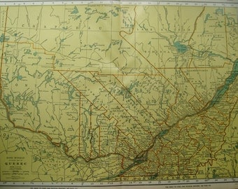 Uncommon Antique QUEBEC Canada Map Vintage 1949 Map RARE SIZE Neat Gift Idea for Traveler Canadian Birthday 2197