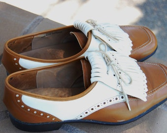 """Vintage """"Stylo Matchmakers Dupont Corfam"""" Women's Tan/White Golf Shoes, Made In England"""