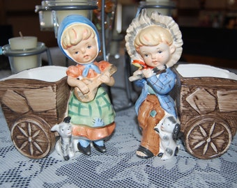 Vintage Victoria's Ceramics Set of Boy and Girl With Planter Box