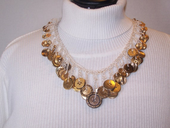 FREE SHIPPING Hand Crocheted Gold/Brass Button Necklace (no. 2)