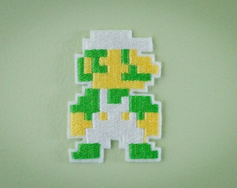 8 BIT LUIGI -- Nintendo Throwback Embroidered Iron-on NES Patch