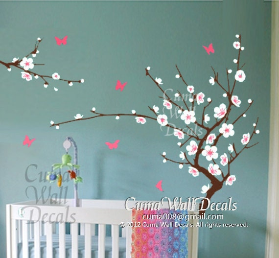 White cherry blossom wall decals flower butterfly wall by cuma for Cherry blossom tree mural