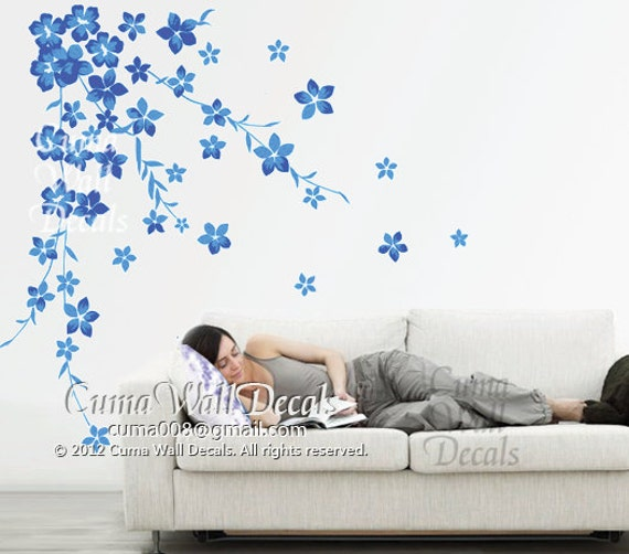 blue cherry blossom wall decals flower vinyl wall decals nursery wall decals sticker children wall decal