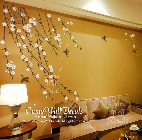 Cherry Blossom Wall Decal Birds Nursery Wall Decals Tree