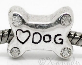 Gift For Dog Owner - Dog Lovers Bone Shaped European Charm Bead with Rhinestone Accentsead Fits All European Style Charm Bracelets