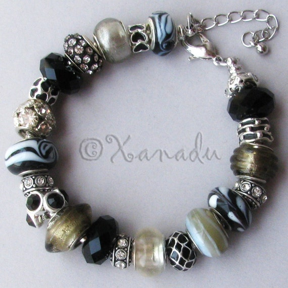 Black, White, Grey, Silver, Beige European Charm Bracelet Adjustable Chain - Gift Idea For Her
