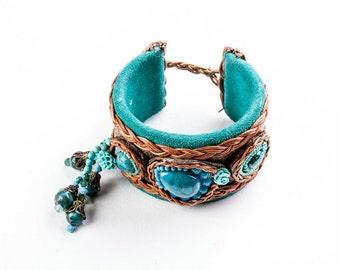 Cuff Bracelet. Bead Jewelry. Turquoise  Romantic  Bracelet.  Colorful Jewelry