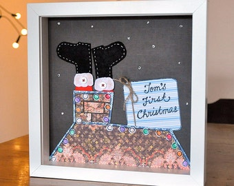 First Christmas - Baby - nursery wall art - santa - chimney - xmas gift