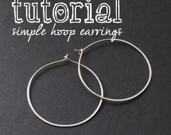 Wire Jewelry PDF Tutorial: How to Make Simple Wire Hoop Earrings, Jewelry Making Instructional Lesson
