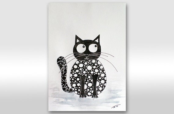 "SALE - FREE SHIPPING Original Ink Drawing Black And White Cat Painting - ""Spotty kitty"" painting A4 size painting 12 x 8"