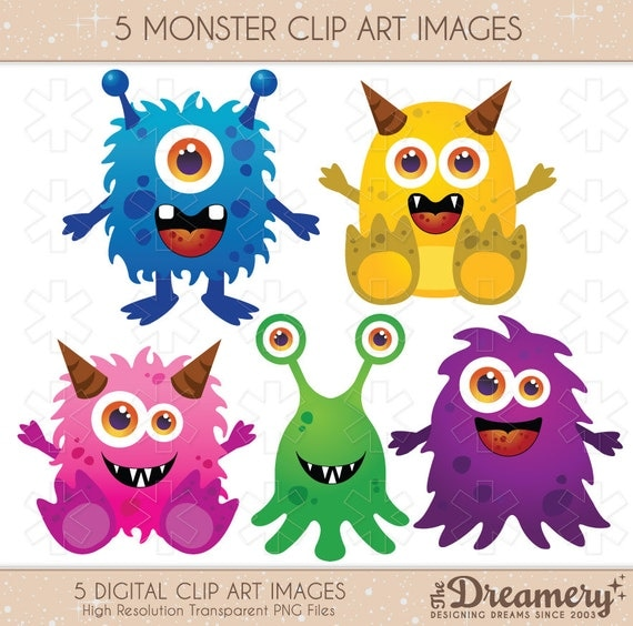 Items Similar To 5 Monster Clip Art Images Instant