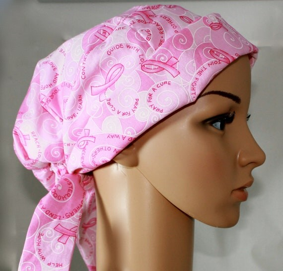 Women's Tie Back Pleated back Surgical Scrub Hat/ Chemo hat with band.  Breast Cancer Awareness