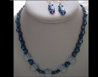 SWAROVSKI Bermuda Blue and Lavender 5107 Pagoda Crystal Necklace and Earrings, Vintage and Signed