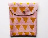 POUCH // pink suede with yellow m triangles