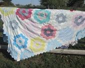 Vintage Unfinished Handmade Quilt, Grandmothers Flower Garden Quilt