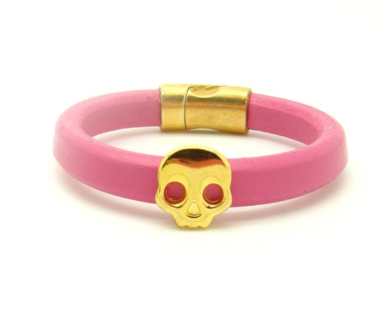 Gold Skull Bracelet - Pink Leather Cuff Bracelet w/ Magnetic Closure