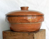 Antique Watt Pottery Arches Covered Casserole Yellow ware Bowl