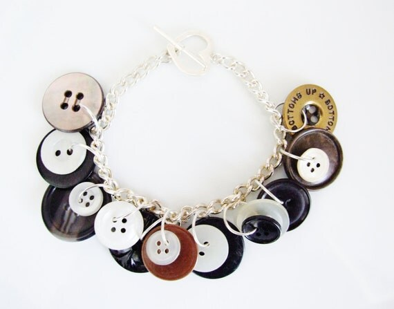 Vintage button, mother of pearl & shell charm bracelet