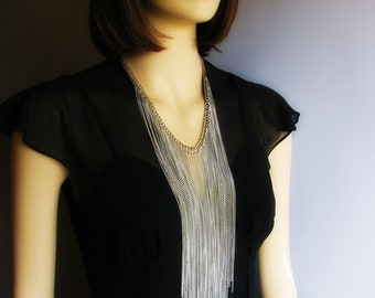 Silver Falling Waters Metallic Fringe Statement Necklace with Long Strands Of Silver Toned Chains
